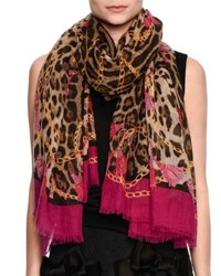 Dolce And Gabbana Lightweight Leopard Print Scarf