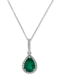 Effy Collection Brasilica By Effy Emerald 9 10 Ct. T.W. And Diamond 1 8 Ct. T.W. Drop Pendant In 14K White Gold Green