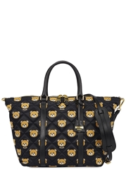 Moschino Black Bear Print Quilted Satin Tote