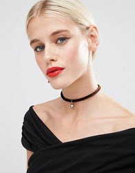 Asos Faux Pearl Brownstone Choker Necklace Brown