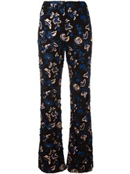 Self Portrait Embroidered Flared Trousers Black