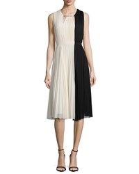 Halston Sleeveless Colorblock Pleated Dress Parchment