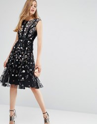 Needle And Thread Floral Ombre Midi Dress Black