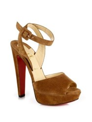 Christian Louboutin Louloudancing 140 Suede Ankle Strap Platform Sandals Black Indiana