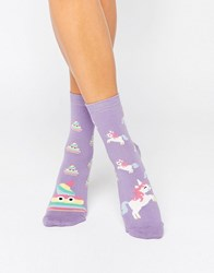 Asos Unicorn And Rainbow Poo Ankle Socks Purple