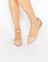 London Rebel Two Part Ankle Strap Flat Shoes Taupe Pu Beige