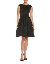 Chetta B Jacquard Fit And Flare Dress Black