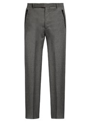 Balenciaga Wide Leg Flannel Wool Trousers Grey
