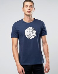 Pretty Green T Shirt With Logo Print In Slim Fit Navy Navy