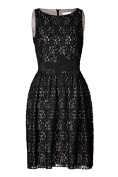 Paule Ka Lace Dress With Bow Sash