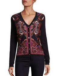 Versace Long Sleeve Printed Silk And Cotton Cardigan Black