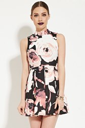 Forever 21 Pleated Floral Print Dress Black Cream