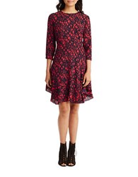 Donna Morgan Abstract Print Three Quarter Sleeve Fit And Flare Dress Marine Navy Red