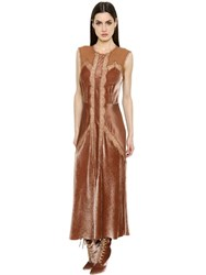 Alberta Ferretti Velvet And Silk Satin Dress W Lace Inserts