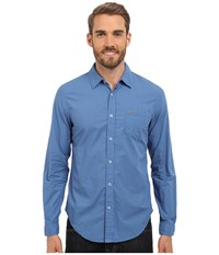 Lacoste Long Sleeve Garment Dyed Poplin Slim Fit Wave Blue Dyed Men's Clothing