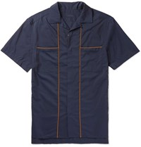 Lanvin Camp Collar Piped Cotton And Silk Blend Shirt Navy