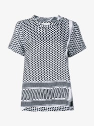 Cecilie Copenhagen Keffiyeh Cotton Short Sleeve Top White Black Denim