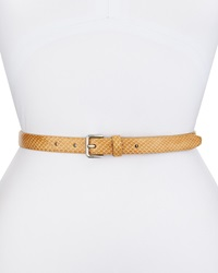 Cole Haan Snake Embossed Leather Logo Belt Nude