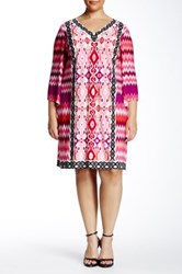 Maggy London Printed Jersey Shift Dress Plus Size Pink
