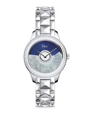 Christian Dior Dior Viii Grand Bal Limited Edition Montaigne Diamond Alligator And Stainless Steel Automatic Wat Silver Blue