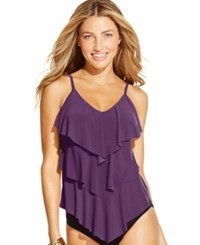 Magicsuit Tiered Ruffle Tankini Top Women's Swimsuit Fig Brown