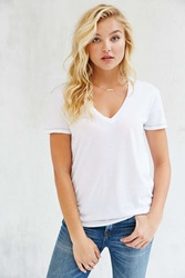 Truly Madly Deeply Sal Boyfriend V Neck Tee White