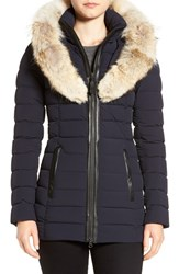 Mackage Women's Water Resistant Down Parka With Genuine Coyote Fur Trim Navy