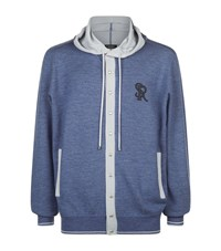 Stefano Ricci Cashmere Silk Hooded Lounge Top Male Blue