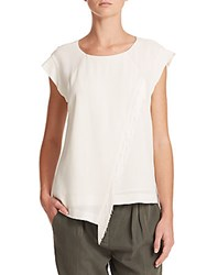 Rebecca Taylor Short Sleeve Fringed Top Chalk