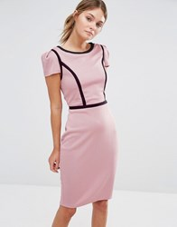 Paper Dolls Gingham Pencil Dress With Contrast Piping Pink Black