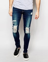 Asos Extreme Super Skinny Jeans With Extreme Knee Rips Blue