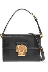 Dolce And Gabbana Lucia Lizard Effect Leather Shoulder Bag Black