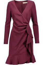 Emilio Pucci Wrap Effect Ruffled Stretch Wool Mini Dress Burgundy