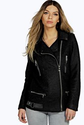 Boohoo Wool Look Biker Black