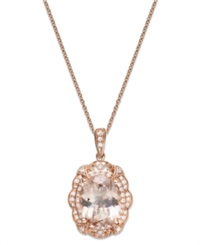 Effy Collection Blush By Effy Morganite 2 7 8 Ct. T.W. And Diamond 1 5 Ct. T.W. Pendant Necklace In 14K Rose Gold Pink