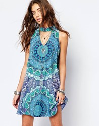 Kiss The Sky Festival Print Dress With High Neck On A Wave Dress