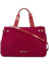 Armani Jeans 'Hearts' Print Large Tote Red
