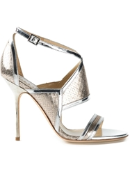 Pollini High Stiletto Heel Sandals Metallic