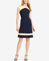 American Living Colorblocked Jersey Dress Capri Navy Sundance Yellow