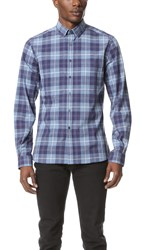Patrik Ervell Tonal Plaid Work Shirt Blue