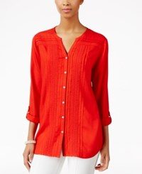 Jm Collection Petite Pintucked Shirt Only At Macy's Hot Red