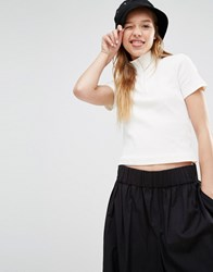 Weekday Crop High Neck T Shirt With Zip Off White