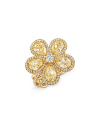 Rahaminov Diamonds 18K Gold Flower Ring With Fancy Intense Yellow