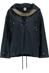 M Missoni Lace Up Cotton Hooded Coat Navy