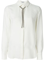 Brunello Cucinelli Embellished Neck Tie Shirt Nude And Neutrals