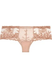 La Perla Morgane Embroidered Tulle And Stretch Satin Briefs Pink
