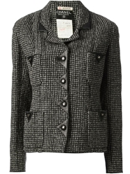 Chanel Vintage Jacket And Skirt Tweed Suit Black