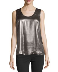 Brunello Cucinelli Laminated Silk Sleeveless Scoop Neck Blouse Dark Gray