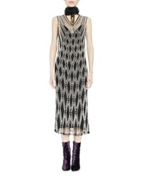 Dries Van Noten Detmer Pearly Beaded Argyle Overlay Dress Ecru 005 Ecru