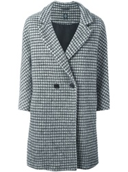 Eleventy Houndstooth Coat Nude And Neutrals